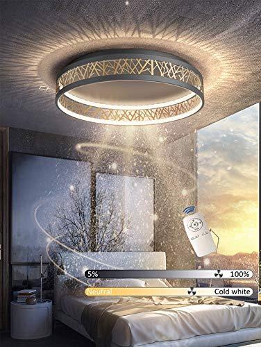 LED Runden Deckenleuchte Schwarz Gold Deckenlampe Mit Stufenlosem Dimmen Der Fernbedienung Moderne Decke Beleuchtung Wohnzimmer Schlafzimmer Licht Aus Eisen Und Acryl,Ø52cm
