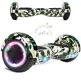 Wind Way Hover Board 6,5 Pouces - Bluetooth - Puissance 700W - Overboard LED - Skateboard Auto Equilibrage - Balance Board Tout Terrain Adulte - Enfant Cadeau Pas Cher - Vert Militaire