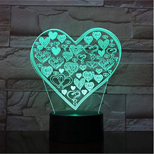 3D Phantom Night Light LED A Big Heart-Shaped Model with a lot of Care Home Decoration Night Light Living Room Bedroom 7 Colors Adjustable Color