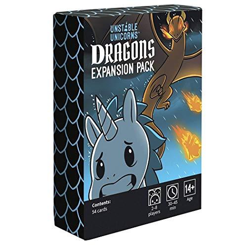 BDWN El Super Juego Paquete de expansión Unstable Unicorns Dragones Juego de Cartas de Estrategia para Adultos y Adolescentes y Juego de Mesa de Fiesta