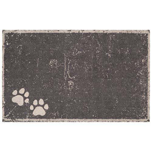 Hanse Home Hundematte Hundedecke Napfunterlage Pfoten-Design für Indoor und Outdoor PETS-Kollektion (50 x 80 cm, 100% Polyamid, rutschfest, pflegeleicht, waschbar, made in EU), Grau