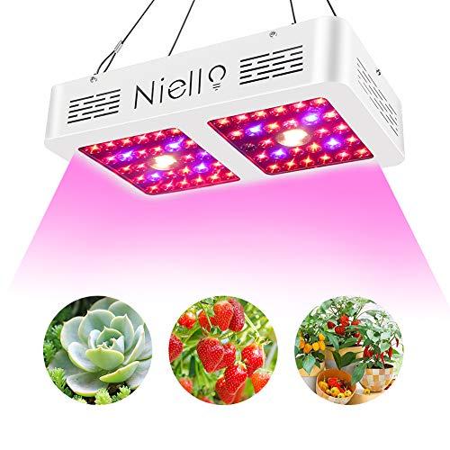 Niello 600 W CREE COB LED Grow Light, doble reflector sistema de espectro completo luz con función Daisy Chain para plantas de invernadero hidropónicas de interior Veg y floración (600 W)