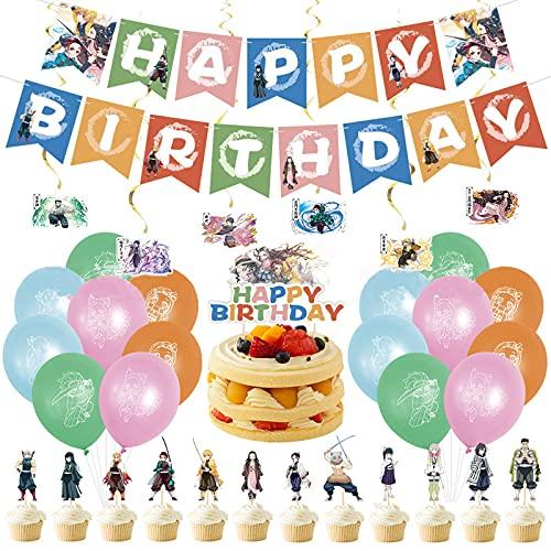 Demonio Slayer Theme Fiesta de cumpleaños Decoración Set Banner Cake Bandera Globo Spiral Colgadores de espiral