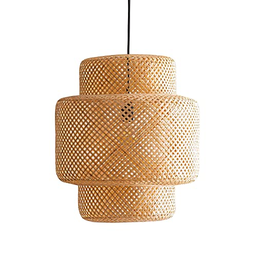 BarcelonaLED Lámpara Techo Colgante de Mimbre Natural Nórdico Vintage Pantalla Ratán Bambú Madera con Casquillo E27 para Comedor Salón