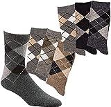 TippTexx 24 6 Paar warme,weiche Socken mit Alpaka-Wolle & Karo Dessin für Damen & Herren mit zusätzlicher Garantie (Farben sortiert, 39/42)