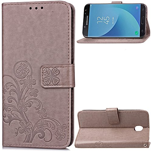Carcasa para Funda Samsung Galaxy J530, Funda J5 2017, Funda Galaxy J5 Pro Carcasa, Cartera Flip Funda Caja de Cuero de la PU Carcasa con Tapa Flip Case TPU Funda (Gray). RF09