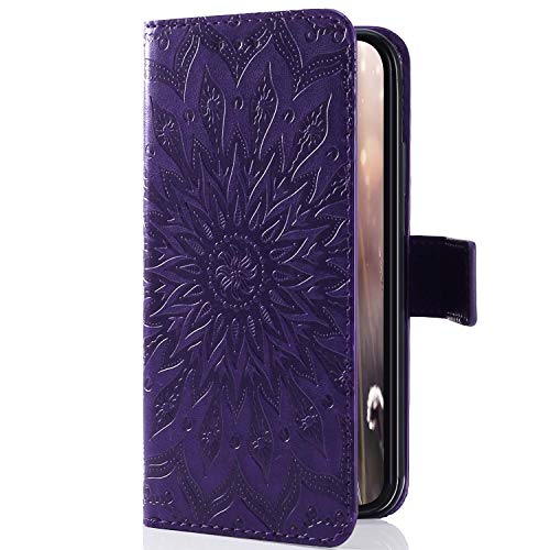 Kompatibel mit Handyhülle iPhone 8 Plus/iPhone 7 Plus Leder Tasche Schutzhülle Handy Tasche Mandala Blumen Muster Book Case Leder Hülle Kunstleder Cover Klapphülle Flip Case Magnetverschluss,Lila