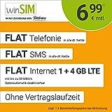 winSIM Móvil LTE All 1 GB + 4 GB – sin Tiempo de Contrato, (Flat Internet 5 GB LTE con máx. 50 Mbit/s con Datos desactivables automáticos, Llamadas Planas, SMS y Extranjero de la UE, 6,99 Euros/Mes)