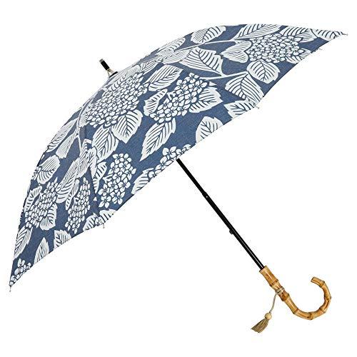 小川(Ogawa) ショートスライド晴雨兼用長傘 日傘 手開き 50cm 8本骨 nugoo 拭う あじさい(紺) 軽量 276g UVカット はっ水 和柄 寒竹の手元 89072