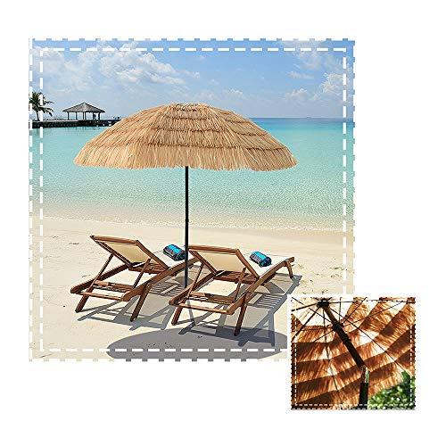 Aly Sombrilla De Playa Paja De Imitación Parasol De Jardín Natural Hawaiano, 180 Cm Estilo Hawaiano Sombrilla Plegable con Manivela Inclinable