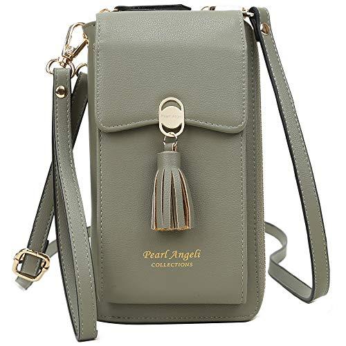 Pearl Angeli RFID Schutz Handy Brieftasche Frauen Kreditkarte Kunstleder Geldbörse mit Tessel Damen Umhängetasche für (grün)