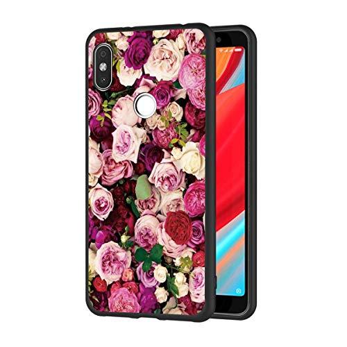 ZhuoFan Funda Xiaomi Redmi S2 Cárcasa Silicona Ultrafina Negra con Dibujos Diseño Suave TPU Gel Antigolpes de Protector Piel Case Cover Bumper Fundas para Movil Xiao Mi RedmiS2, Flores 2