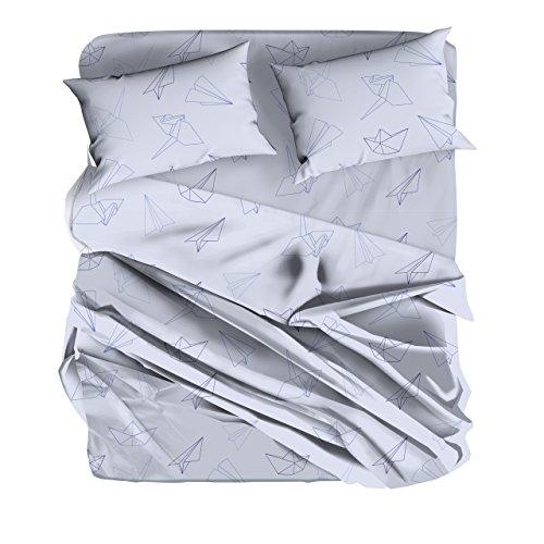 BOTTEGA TESSILE Elvira - completo letto stampato in morbida microfibra. Disegno: Origami, variante: lilla, misura: 1 piazza