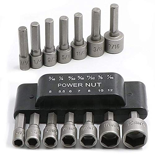 "14Pcs Power Nut Driver Drill Bit Set, 1/4"" Hex Socket Adapter Bolt Drivers Repairing Tool Kit, Suitable For Quicker Change Chuck, Electric Screwdriver, Hand Drill, Pneumatic Drill, Lithium Drill"