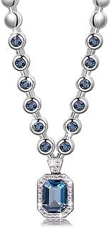 University Trendz Swarovski Elements Divine Angelic Blue Designer Swarovski Necklace for Women