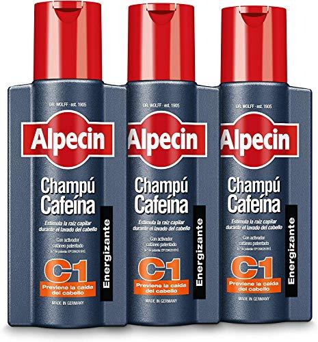 Alpecin Champú Cafeína C1 3x 250ml | Champu anticaida hombre y con cafeina | Tratamiento para la caida del cabello | Alpecin Shampoo Anti Hair Loss Treatment Men