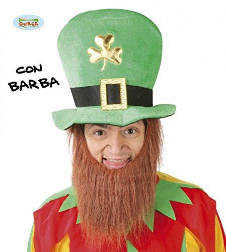Guirca grüner Kobold Hut mit Bart für Herren