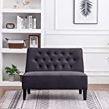 ANNJOE Button Tufted Loveseat Settee Upholstered Sofa Backrest Buckle Couch Banquette Bench for Dining Room Living Room Bedroom Funiture(Gray 1)