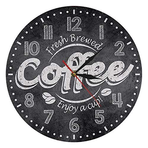 gongyu Café recién Hecho Disfrute de una Taza de café Reloj de Pared con impresión Reloj de Pared de Cocina Cafetería Café Bar Decoración de Pared Regalo de Amante del café