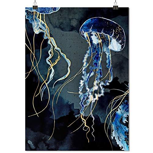 Metal Ocean Fantasy Jellyfish Art Poster Decorative Oil Painting posterart printscute Room decorart canvasfor homebathroom artUnframe-style1 24×36inch(60×90cm)