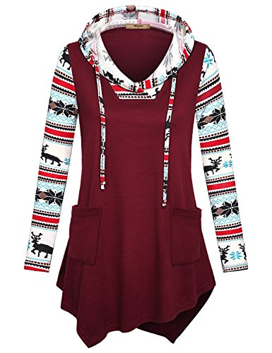 Drawstring Hoodie for Women ,Miusey Ladies Comfy Reindeer Print Long Sleeve Top Pullover Sweatshirts to Wear with Leggings Casual Loose Patchwork Winter Basic Hooded with Pockets Burgundy XXL