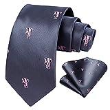 HISDERN Corbatas de Hombre rosa gris con Motivo elefante Modernas Boda Corbata y Pañuelo Conjunto Elegante de Business Partido