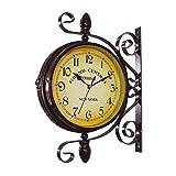 Jroyseter Orologio da Parete Rotante a Doppio Lato retrò Orologi Classici Europei con Staffa Orologio a Sospensione in Metallo Decorazione da Giardino per Interni (Senza Batteria)