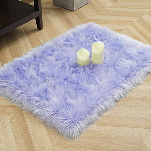 LOCHAS Ultra Soft Fluffy Rugs Faux Fur Sheepskin Area Rug for Bedroom Bedside Living Room Carpet Nursery Washable Floor Mat, 2x3 Feet Lavender