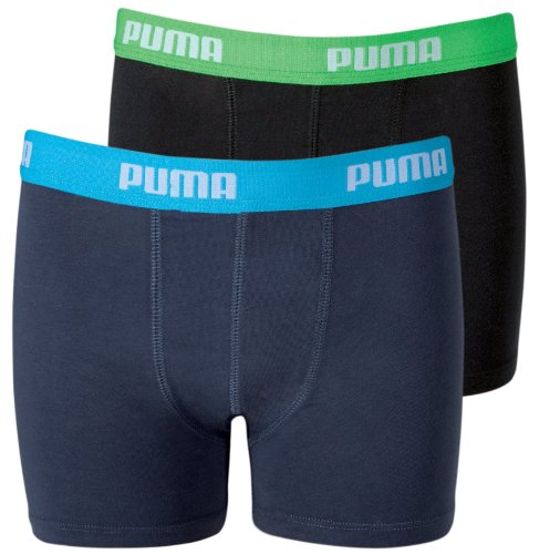 PUMA Jungen Basic Boxer 2P, india ink / turquoise, 158-164, 525015001
