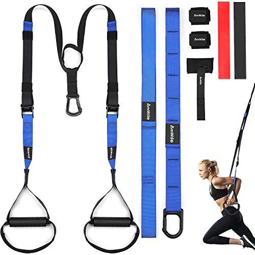 AmWile Schlingentrainer Sling Trainer Set, Fitness Resistance Trainer Bänder, verstellbares Bodyweight Workout Suspension Set mit Türanker & Handgelenk-Kompressionsbänder für Home Gym und Outdoor.