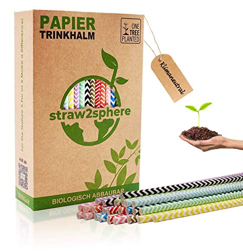 straw2sphere® 160 klimaneutrale Papierstrohhalme | 1 Kauf pflanzt 1 Baum | Trinkhalme aus Papier für Cocktails, Hochzeit etc. | umweltfreundlicher Bio Strohhalm Papier | gewellt