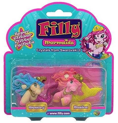 Dracco Filly Mermaids mit Glitzernder Schwanzflosse, Krone mit Swarovski Kristall, 2er-Pack für Kinder, Mädchen, zum Sammeln und Spielen (Memory + Musica)