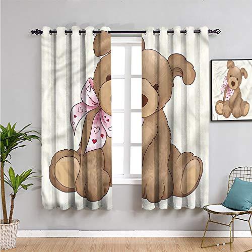Pcglvie Cortina de armario para niños, cortinas de 72 pulgadas de longitud de oso de peluche para niños de juguete para reducir la luz de 63 x 72 pulgadas