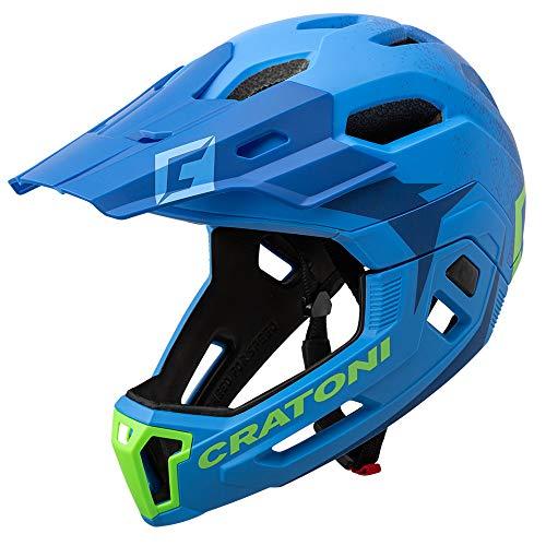 Cratoni C-Maniac 2.0 MX Fahrradhelm Fullfacehelm Downhill Freeride Kinnbügel abnehmbar (blau-grün, M/L (54-58 cm))