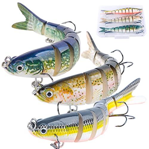 3pcs Señuelos de Pesca 25g 8 Segmentos + 1 Caja de Cebos de Pesca Cebos Artificiales de Pesca para Mar Lubina Black Bass Barracuda Pez Grande…