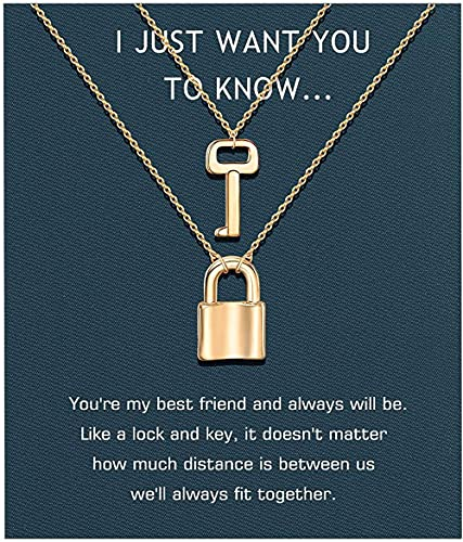 banbeitaotao Collar Sincere Best Friend Necklaces Matching Lock and Key BFF Friendship Sister Necklace Jewelry For 2 Women Girls Sister Friend Birthday Gifts(Gold/Silver) Gold