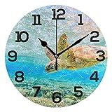 LUCASE LEMON ALEX ブルー ウミガメ 航海地図 円形 アクリル 壁時計 チカチカチ音がしないサイレント時計 ホームデコ リビングルーム キッチン 寝室 オフィス 学校 M g18414491p239c274s441