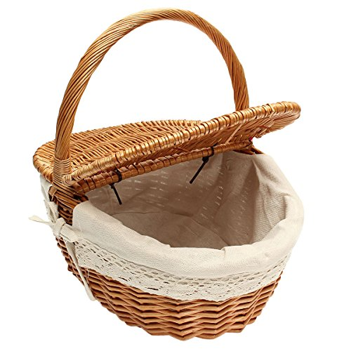 TOPBATHY Cesta de mimbre para picnic con tapa y asa