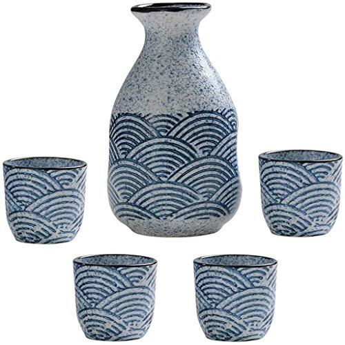 HaoLi Juego de Sake japonés, Juego de Tazas de Sake de 5 Piezas, Tazas de cerámica con diseño de Textura de Onda pintoresca, Copas de Vino artesanales, para frío/Calor/Shochu/té