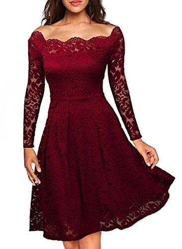Kostor Damen Spitzenkleid mit Schwung 1950er, Empire Taille Vintage Off Schulter Cocktailkleid, Knielang Abendkleid Langarm/Retro/Pinup...