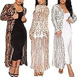 PROMLINK Sequin Cardigan for Women Giltter Kimonos Blazer Jackets,Silver 2XL
