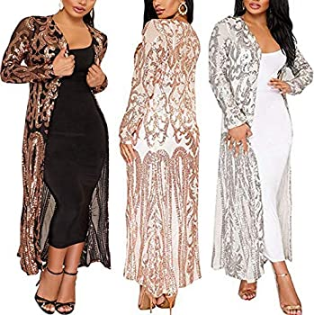 PROMLINK Women Sequin Cardigan Duster Long Sleeve Kimono Sparkly Sweater,Silver XL