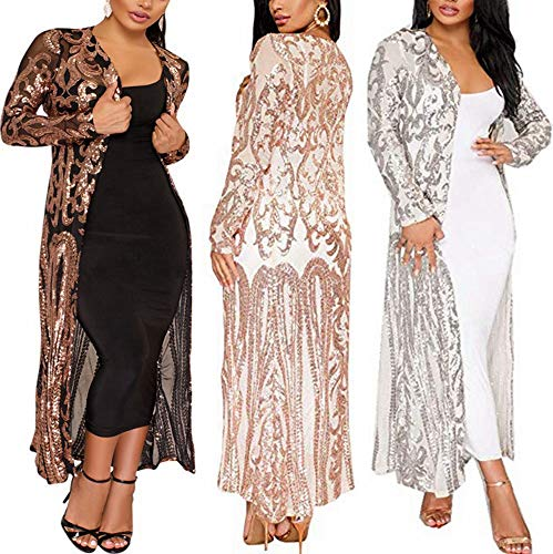 PROMLINK Women Sequin Cardigan Long Sleeve Open Front Kimono Sparkly Sweater,Silver