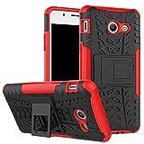 Smfu Funda Compatible Moto G4/G4 Plus Carcasa Rugged Híbrido Resistente Absorción Anti-arañazos Funda Absorción Impactos con Pie De Apoyo Caja [con Mica 2Unidades]-Rojo