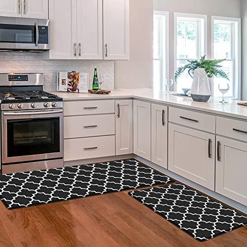 KMAT Kitchen Mat [2 PCS] Cushioned Anti-Fatigue Floor Mat, Waterproof Kitchen Mats and Rugs Heavy Duty PVC Ergonomic Comfort Standing Foam Mat for Kitchen, Floor Home, Office, Sink, Laundry,Black