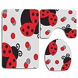 Cute Red Ladybug 3Pcs Alfombra de baño Set Alfombra de baño Antideslizante + Alfombrilla de baño en Forma de U + Funda de Asiento de Inodoro