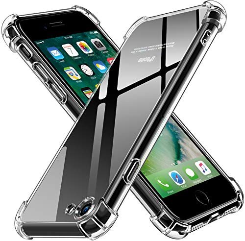 ivoler Funda Compatible con iPhone SE 2020 / iPhone 8 / iPhone 7, Carcasa Protectora Antigolpes Transparente con Cojín Esquina Parachoques, Flexible Suave TPU Silicona Caso Delgada Anti-Choques Case