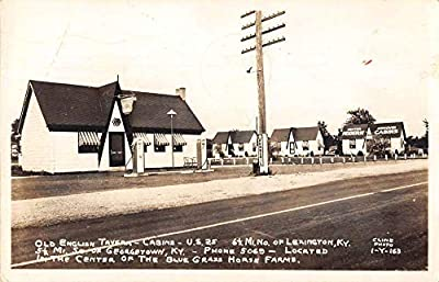 Georgetown Kentucky Old English Tavern Cabins Gas Station Real Photo PC AA21763