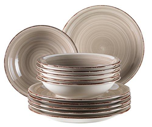 Mäser, Serie Bel Tempo, Teller-Set aus Steingut, 12-teilig für 6 Personen, Tafelservice Vintage, handbemalt, grau
