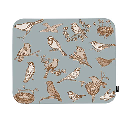 EKOBLA French Birds Mouse Pad Retro Vintage Floral Little Adorable Animal Branch Eggs Nature Gaming Mouse Mat Non-Slip Rubber Base Thick Mousepad for Laptop Computer PC 9.5x7.9 Inch